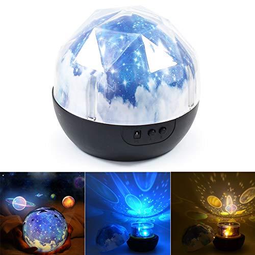 Projecteur de nuit - BESTGIFT LED Magic Planet Universe Moon Stars Joyeux anniversaire Ocean Projecteurs Nouveauté Table Lampe de nuit Batterie USB Lampe pour enfants