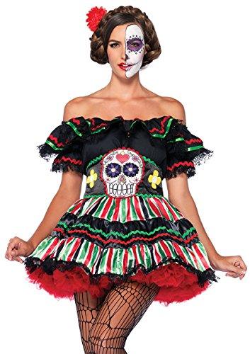 LEG AVENUE 85293 - Kostüm für Erwachsene, Größe XL, schwarz/multifarbig (Kostüm Sugar Skull)