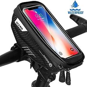 51e%2BigI9KGL. SS300 WILD MAN Borse Bici Telaio Impermeabile Borsa Manubrio Bicicletta con Touch Screen, Porta Telefono MTB Borsa Porta…