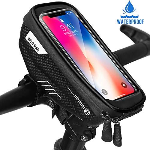 """Faneam Handytasche Fahrrad Wasserdicht Fahrrad Lenkertasche Handy mit Touch-Screen Oberrohrtasche Fahrrad Handyhalterung für iPhoneXS MAX/XR/X/8/7/Galaxy S9/S8 bis zu 6,5\"""" Smartphone, Schwarz"""