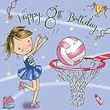 Twizler 8TH di compleanno per ragazza con netball–otto anni–Age 8–Carta di compleanno per bambini–Girls–Biglietto di auguri di buon compleanno carta