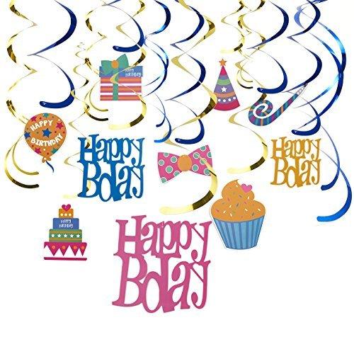Swirl Dekorationen - Happy Birthday Partyzubehör, Party Whirl Streamer, Happy Bday hängende Dekorationen, Hanging Länge: 88,9 bis 96,52 cm ()
