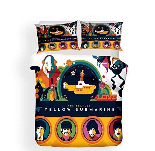 XLST 3D-Druck Bettdecke Cover Set Beatles Band Bettwäsche Set zum Erwachsene und Jugendliche 3 Stück (1 Bettbezug + 2 Kissenbezüge),B,Twin - Sets Twin-bettdecken