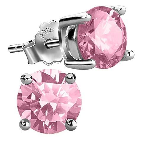 Jebox Birthstone Stud Earrings Sterling Silver Cubic Zirconia Diamond Studs Birthstone Earrings for Women Girls October