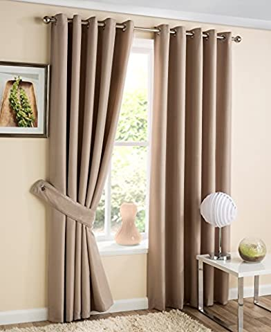 Luxury Zig Zag Design Jacquard Eyelet Ready Made Lined Curtains, Coffee - 90