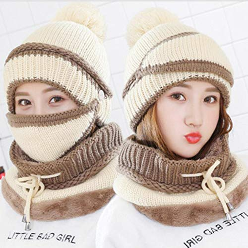 Mütze, Schal & Handschuh-Sets Damenwintern-Bib-Maske hat Plus Samt Thick Hat Cold-Proof Cycling Cap Warm Earmuffs,Beige