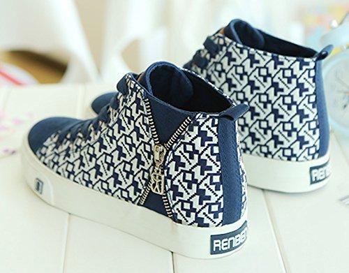 Aisun Damen Modisch Stoffdruck Schnürsenkel Canvas Sneaker Blau