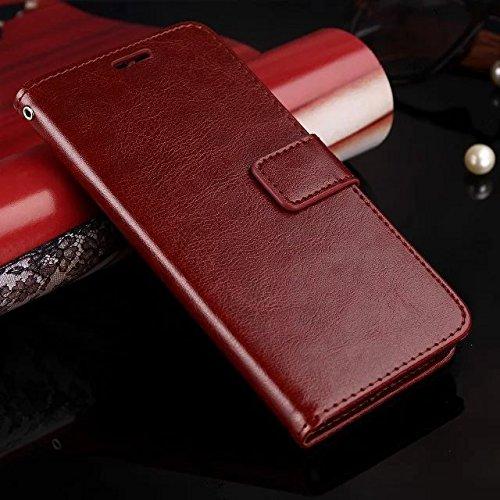Wkae Case Cover caso di Huawei P8 LITE, Cuoio folio modello di colore solido caso di stile di disegno del raccoglitore magnetico della copertura di vibrazione della copertura della cassa standup per H Brown