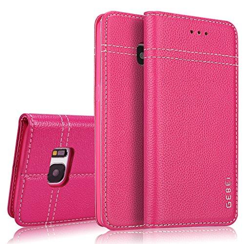 Samsung Galaxy S7 Edge Edge Hülle,GEBEI Serie,luxuriös Echtes Leder Klapphandy Geldbeutel Halter magnetische Adsorption Einfügen von Karte Schutzhülle für Samsung Galaxy S7 Edge Edge (Rosa)
