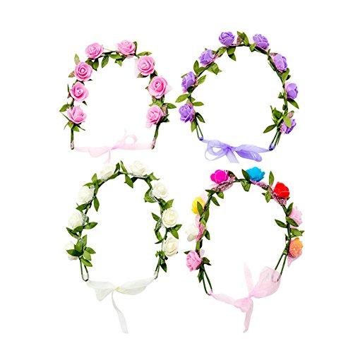 HABI 4 stk Blumenkranz Blumenkrone Haarkranz aus Handwerk , BOHO Blumenstirnband Dekoration für Party Festival oder Hochzeit für Frauen Mädchen Brautjungfer -