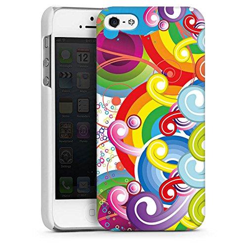 Apple iPhone 5s Housse Étui Protection Coque Psycho Cercles couleurs CasDur blanc