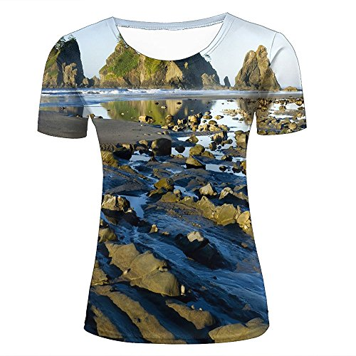 womens crewneck 3d t-shirt shi shi beach of arches creative graphic tees tops XS (Tee Graphic Muscle)