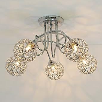 Lustre plafonnier design 5 boules aphyse en soldes for Luminaires exterieurs soldes