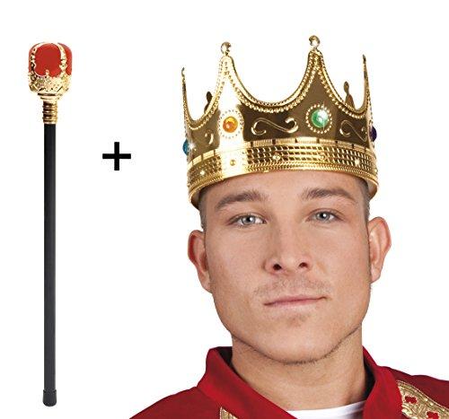 önig Königszepter und Königskrone Edelstein Imitat Kaiser Kostüm ()