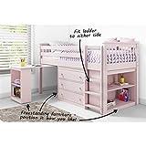 Windermere Hochbett/Hochbett mit Stauraum und Schreibtisch, Leiter kann an beiden Seiten befestigt Werden, Pink