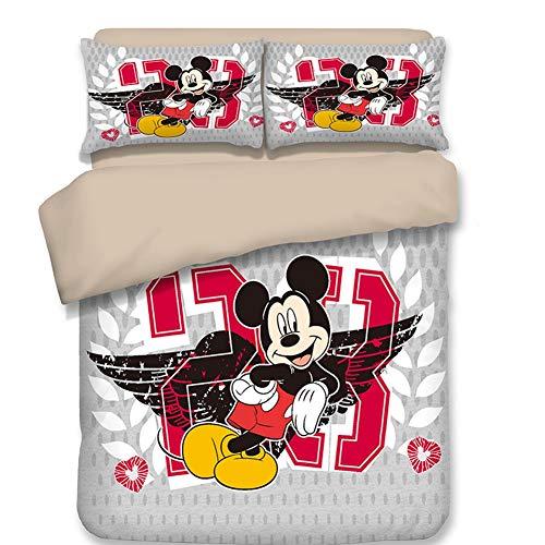 Baumwolle Bettwäsche Bettbezüge mit Mickey Mouse Muster, 3-Teilig Super Weiche Atmungsaktive Baumwollbettwäsche mit Reißverschluss und 2 Kissenbezüge,C,Twin (Mickey-mouse-twin Bettwäsche)