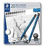 Staedtler Mars Lumograph, Crayons à papier de très haute qualité pour écriture et dessin artistique, Boîte en métal avec 20 crayons assortis 9B-9H, 100 G20