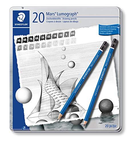 Staedtler Mars Lumograph 100 G20. Pack de 20 lápices de dibujo de distinta dureza.