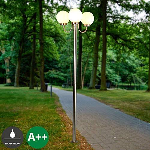 Lampenwelt Mastleuchte außen \'Laci\' dimmbar (Modern) in Alu aus Edelstahl (3 flammig, E27, A++) - Kandelaber, Außenleuchte