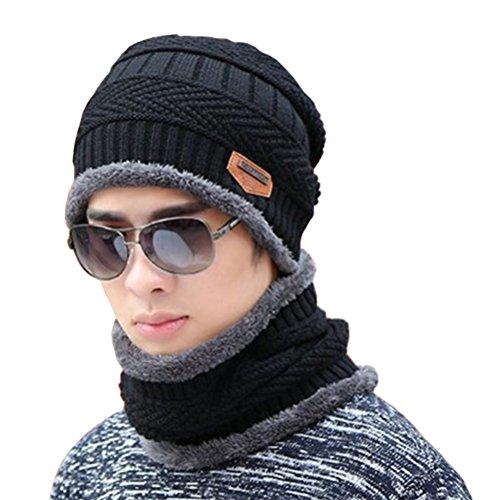 Supstar Gorro Invierno con Bufanda, Calentar Sombreros Gorras Beanie de Punto Para Hombre y Mujer - Negro