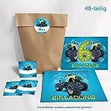 12-er Set Einladungskarten, Umschläge, Tüten/natur, Aufkleber 6. Kindergeburtstag Monstertruck Jungen Geburtstagseinladungen Einladungen Geburtstag Kinder Kartenset Auto