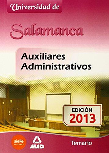 Portada del libro Auxiliares Administrativos de la Universidad de Salamanca. Temario (Castilla Leon)
