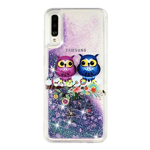 ChoosEU Kompatibel mit Hülle Samsung Galaxy A50 2019 Silikon Glitzer Transparent Muster 3D TPU Handyhülle Durchsichtig Glitter Dünn Schutzhülle Bumper Stoßfest Slim Case Soft Cover - Eule