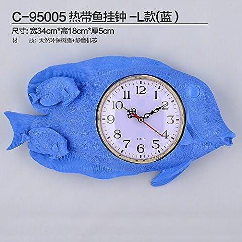 cleck Im Mediterranen Stil Wanduhr Uhr Uhr Tropischen Meer Wind Auf Kinder Schlafzimmerwand Dekoration Echte Uhr,Andere,Blau