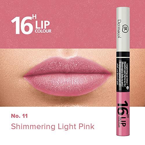 anhaltende Lippenfarbe & Gloss Kussecht und ohne Lippenstiftflecken - Brillanter Lippenstift mit kräftiger Farbe - Lipstick 16H, Nr. 11 Schimmerndes Hellrosa, 7,1 ml ()