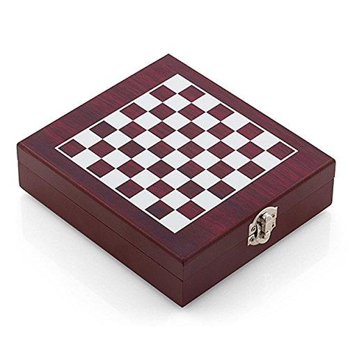 Oramics 2in1 Weinzubehör und Schachspiel Box für Weinliebhaber und Sommeliers - Holzbox mit aufgezeichnetem Schachbrett, Schachfiguren und Weinzubehör / Weinwerkzeug