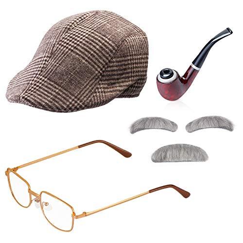 Beefunny Old Man Kostümzubehör-Set Opa Kostümzubehör Aufblasbare Cane Glasses Pipe Old Man Perücken Party - Nerd Kostüm Kit