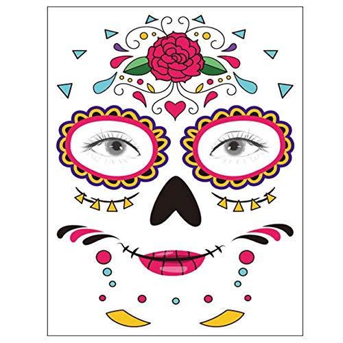 Tatuaggio viso temporaneo, 8 kit di tatuaggi adesivi teschio di zucchero day of the dead makeup, face tattoo rose design per halloween, masquerade e feste (adesivi per il viso)