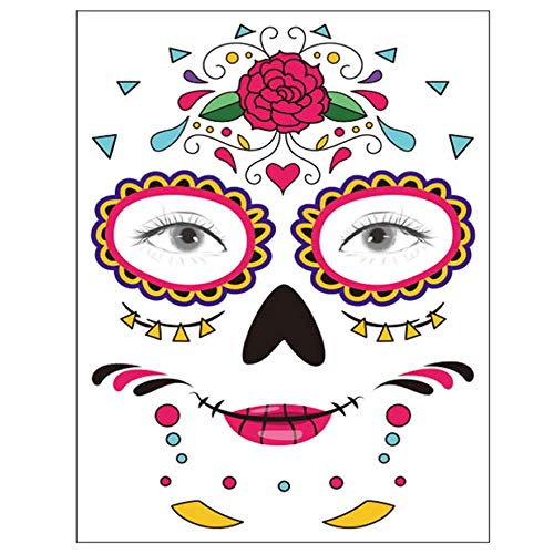 Tatuaje temporal de la cara, 8 Kits Tatuajes Sugar Skull Stickers...