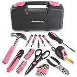 VonHaus Pinkfarbenes 39-teiliges Frauen Werkzeug Set Haushalts-Handwerks-Set Ausrüstung mit Aufbewahrungsbox