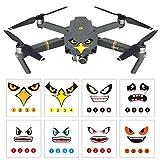 Owoda 8 ensembles Drone Body Peau Cool Aigle/Requin Visage Autocollants 3M Décalcomanies Avec batterie Nombre Autocollant Pour DJI MAVIC PRO/Spark