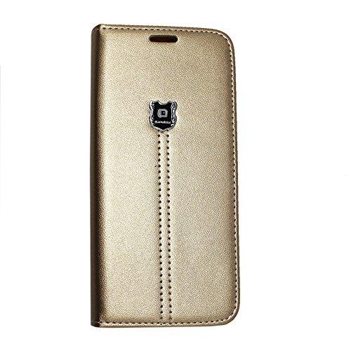 Kamal Star® iPhone SE Tasche Schwarz PU Leder Multi-Functional Wallet Stand Case für Apple iPhone SE (2016 Version der 4.0 Zoll Modell) - SCHUTZHÜLLE mit integrierte BRIEFTASCHE + STAND mit Magnetisch KStar Luxury Gold Book