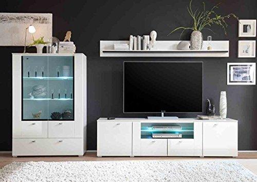 Wohnwand, Anbauwand, Schrankwand, Regalwand, Wohnzimmerschrankwand, Fernsehwand, Wohnschrank, Hochglanz, weiß, Grauglas - 2