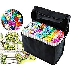 Juego de rotuladores profesionales de 80 colores diferentes para dibujo, doble punta, punta amplia y fina