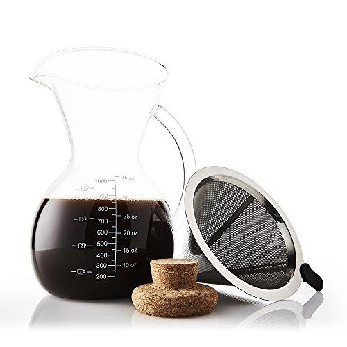 Apace Living SultryBrew Pour Over Kaffeebereiter 1L inkl. Kaffeeschaufel und Korkdeckel Eleganter Handfilter für Filterkaffee mit Glaskaraffe & Permanentfilter aus Edelstahl (1000 ML)