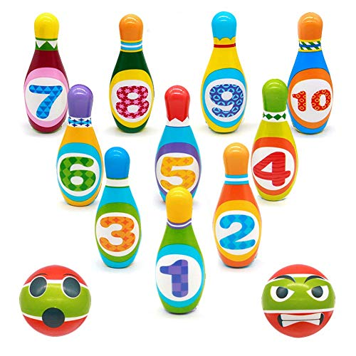 Birilli Bowling Bambini Set Colorato Palla da Bowling Giocattoli Gioco di Sport con 10 Birilli e 2 Palle per 3+