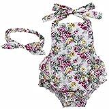 YiZYiF Baby Kleinkind Spielanzug Overall Bodies Anzug Mädchen Bekleidung Set mit Stirnband Weiß + Rose 6 Monate