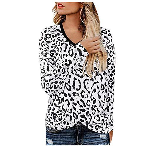 Frauen beiläufige Leopard Printing Langarm Unterhemd T-Shirt Bluse Sweatshirt,Frau Leoparddruck V-Ausschnitt Langarm-T-Shirt -