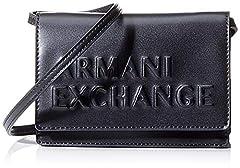 Idea Regalo - ARMANI EXCHANGE Embossed Logo Crossbody Bag - Borse a tracolla Donna, Nero (Black), 10x10x10 cm (W x H L)