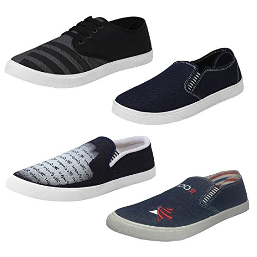 Super Men Shoes Combo Pack of 4 Casual With Loafers & Moccasins (10 UK, Black & Blue)