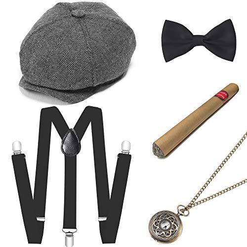 Disney Motto Kostüm Party - ArtiDeco 1920s Herren Accessoires Mafia Gatsby Kostüm Set inklusive Panama Gangster Hut Verstellbar Elastisch Hosenträger Herren Halsschleife Fliege Taschenuhr und Plastik Zigarre (Set-11)