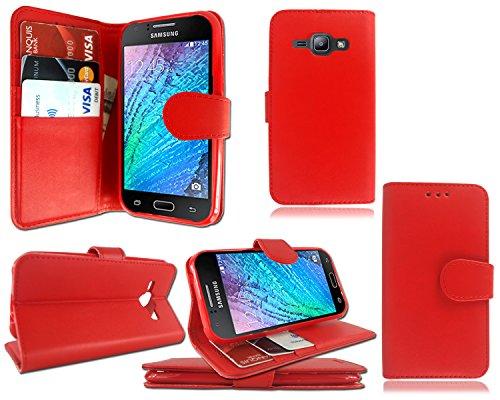 Nouvelle Pochette en cuir à rabat avec porte-cartes pour iPhone Samsung Galaxy J1sm-j100F + Film protecteur d'écran Red Book Wallet