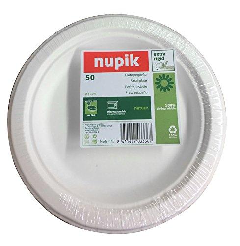 Nupik naturalezaNUPIK platos pequeños Extra rígido, 100% biodegradable para microondas. 17 cm. - Pack de 50