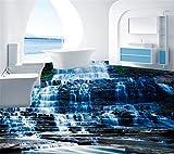Mbwlkj Natur Kleine Wasserfall Stein 3D Boden Wandbild Tapete Küche Wasserdicht Selbstklebende 3D Bodenbelag Pvc-Tapete-250cmx175cm