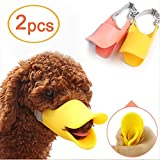 Amaoma 2Pcs Pet Dog Mouth Set of Comfortable Soft Shaped Silicone Duck Sets Anti Bite Not Wearing Black Mask Lieferungen Adjustable Safety Muzzle with Sleeve & # xFF08, Yellow + Orange & # xFF09,