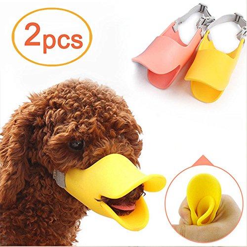 Amaoma 2 Pcs Haustier Hund Mund Sets von Bequemen Weichen-förmigen Silikon Ente Mund Sets von Anti-Biss Nicht Tragen Mund Maske Lieferungen Verstellbar Sicherheit Maulkorb Mit Sleeve(gelb+orange) (Duckbills Kostüme)